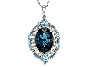 Pre-Owned Blue topaz rhodium over sterling silver pendant with chain 8.87ctw