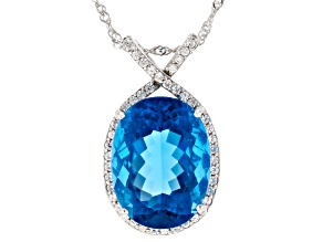 Pre-Owned Blue Color Change Fluorite Rhodium Over Sterling Silver Pendant With Chain 18.68ctw