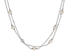 Pre-Owned White Cultured Freshwater Pearl Rhodium Over Sterling Silver Necklace
