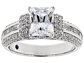Pre-Owned White Cubic Zirconia Platineve Womens Engagement Style Ring 6.09ctw