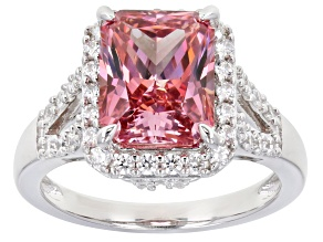 Pre-Owned Swarovski (R) Fancy Pink and White Zirconia Rhodium Over Sterling Ring 9.32ctw