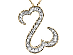 Pre-Owned White Diamond 14k Yellow Gold Over Sterling Silver Pendant 0.75ctw