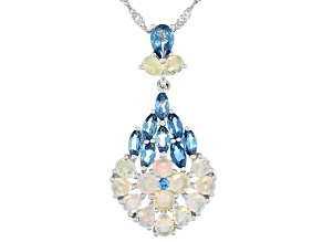 Pre-Owned Multi-Color Ethiopian Opal Rhodium Over Silver Pendant With Chain 3.08ctw