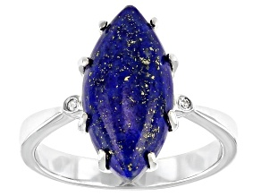 Pre-Owned Blue Cabochon Lapis Lazuli Rhodium Over Sterling Silver Ring 16x8mm