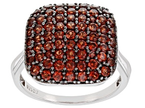 Pre-Owned Red Garnet Rhodium Over Sterling Silver Ring 2.05ctw