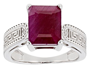 Pre-Owned Red Ruby Rhodium Over Sterling Silver Ring 3.69ctw