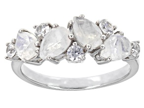 Pre-Owned White Rainbow Moonstone Rhodium Over Sterling Silver Ring 0.44ctw