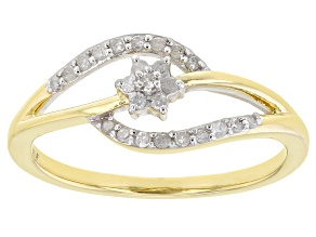 Pre-Owned White Diamond 14k Yellow Gold Over Sterling Silver Ring 0.15ctw