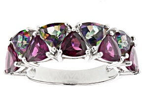 Pre-Owned Purple Raspberry Color Rhodolite Rhodium Over Silver Ring 4.29ctw