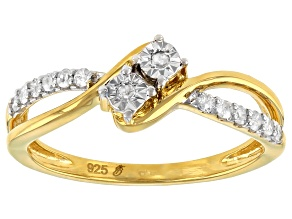 Pre-Owned White Diamond 14k Yellow Gold Over Sterling Silver 2-Stone Bypass Ring 0.15ctw