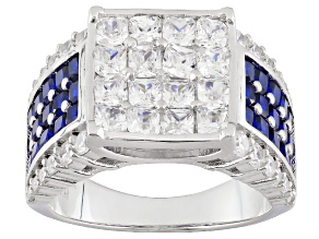 Pre-Owned Blue And White Cubic Zirconia Rhodium Over Sterling Silver Ring 6.86ctw