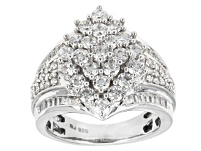 Pre-Owned Cubic Zirconia Rhodium Over Sterling Silver Ring 4.05ctw