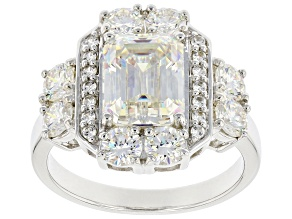 Pre-Owned Fabulite Strontium Titanate with white zircon rhodium over sterling silver ring 5.33ctw.