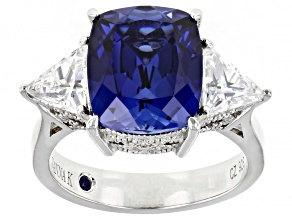 Pre-Owned Blue Lab Created Sapphire & Cubic Zirconia Platineve® Anniversary Ring