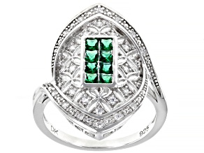 Pre-Owned Green and White Cubic Zirconia Rhodium Over Sterling Silver Ring 0.55ctw