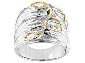 Pre-Owned White Cubic Zirconia Rhodium And 14K Yellow Gold Over Sterling Silver Ring 2.61ctw