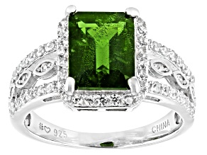 Pre-Owned Green Chrome Diopside Rhodium Over Sterling Silver Ring. 2.94ctw