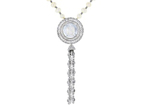 Pre-Owned Cultured Freshwater Pearl, Mother of Pearl, Diamond Simulant, Hematine Silver Tone Necklac