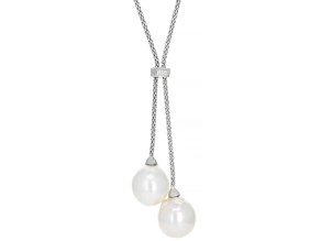 Pre-Owned Genusis™  White Cultured Freshwater Pearl & Cubic Zirconia Rhodium Over Sterling Silver Ne