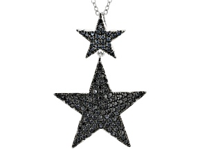 Pre-Owned Black Spinel Rhodium Over Silver Star Dangle Pendant With Chain 1.08ctw