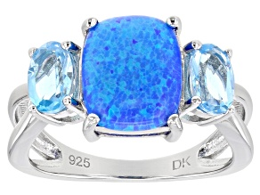 Pre-Owned Lab Created Blue Opal Rhodium Over Silver 3-Stone Ring 0.99ctw