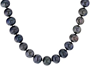 Pre-Owned Black Cultured Freshwater Pearl Silver Strand Necklace