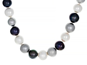 Pre-Owned Multi-Color Cultured Freshwater Pearl Rhodium Over Sterling Silver Necklace 11-13mm