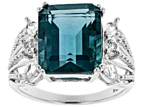 Pre-Owned Teal Fluorite Rhodium Over Sterling Silver Ring 6.43ctw