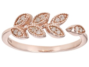 Pre-Owned White Diamond 14k Rose Gold Over Sterling Silver Leaf Ring .11ctw