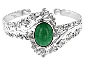Pre-Owned Jadeite Rhodium Over Silver Leaf Cuff Bracelet