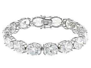 Pre-Owned White Cubic Zirconia Rhodium Over Sterling Silver Tennis Bracelet 73.44ctw