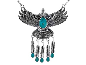 Pre-Owned Turquoise Rhodium Over Sterling Silver Eagle Necklace