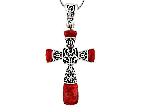 Pre-Owned Red Coral Sterling Silver Cross Pendant With Chain