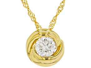 Pre-Owned Moissanite 14k yellow gold over sterling silver solitaire pendant .60ct DEW