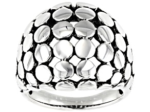 Pre-Owned Mens Rhodium Over Sterling Silver Dome Ring