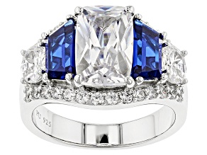 Pre-Owned Blue And White Cubic Zirconia Rhodium Over Sterling Silver Ring 12.05ctw