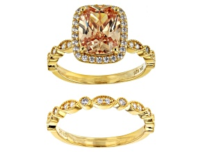 Pre-Owned Champagne And White Cubic Zirconia 18K Yellow Gold Over Sterling Silver Ring With Band 4.8