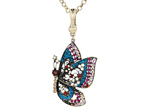 Pre-Owned Off Park ® Collection,Multi Color Crystal Antique Brass Butterfly Enhancer with Chain