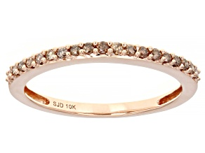 Pre-Owned Champagne Diamond 10k Rose Gold Band Ring 0.20ctw