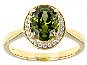 Pre-Owned Green And White Cubic Zirconia 18k Yellow Gold Over Sterling Silver Ring 3.25ctw