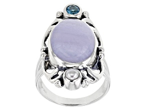 Pre-Owned Blue Lace Agate, Blue Topaz, & Cultured Freshwater Pearl Silver Ring 0.23ct