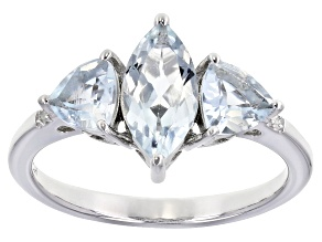 Pre-Owned Blue Aquamarine Rhodium Over Sterling Silver Ring 1.57ctw