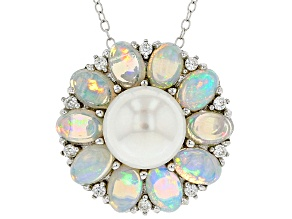 Pre-Owned Cultured Freshwater Pearl With Opal And Zircon Rhodium Over Silver Pendant