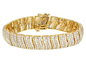 Pre-Owned White Cubic Zirconia 18k Yellow Gold Over Sterling Silver Bracelet 10.83ctw