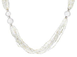 Pre-Owned 3-13mm White Cultured Freshwater Pearl Rhodium over Sterling Silver Twisted 24 inch Neckla