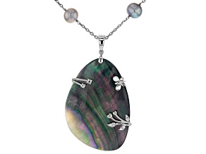 Pre-Owned Tahitian Mother-of-Pearl, Cultured Freshwater Pearl, Cubic Zirconia Rhodium Over Silver Ne