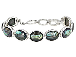 Pre-Owned Multi-color Abalone Shell Rhodium Over Sterling Silver Bracelet.