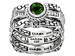 Pre-Owned Green Russian Chrome Diopside Sterling Silver Ring Set 0.48ctw