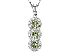 Pre-Owned Green Demantoid Garnet Sterling Silver 3-Stone Pendant With Chain 1.20ctw