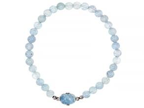 Pre-Owned Blue Aquamarine Rhodium Over Sterling Silver Stretch Bracelet